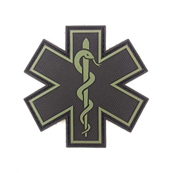 """Tactical Innovations Canada Airsoft Morale Patch 1 PVC Morale Patch - EMS - Medical Responder 3"""" Star of Life - Blk & ODG - Single Snake"""