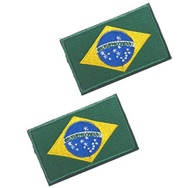 Tactical Embroidery Patch Airsoft Morale Patch 1 2pcs Brazil Flag Embroidery Patch Military Tactical Morale Patch Badges Emblem Applique Hook Patches for Clothes Backpack Accessories