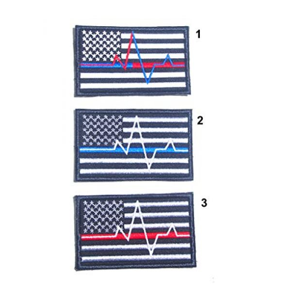 JJ4 Airsoft Morale Patch 1 B55 USA American Flag Red and Blue Line Paramedic Firefighter Embroidered Morale Patch 9X5.5 cm Hook Backing (1)