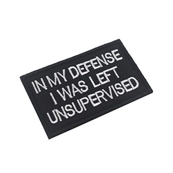 Ansellf Airsoft Morale Patch 2 in My Defense I was Left Unsupervised Patch,Tactical Military Army Gear,Tactical Combat Bagde Military Hook Embroidered Patch Set Hook/Loop Backing