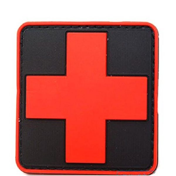 dufu-beauty- Airsoft Morale Patch 4 Outdoor Products PVC Patch Armband The Medical Rescue Of The Red Cross Chapter Black Background/Red