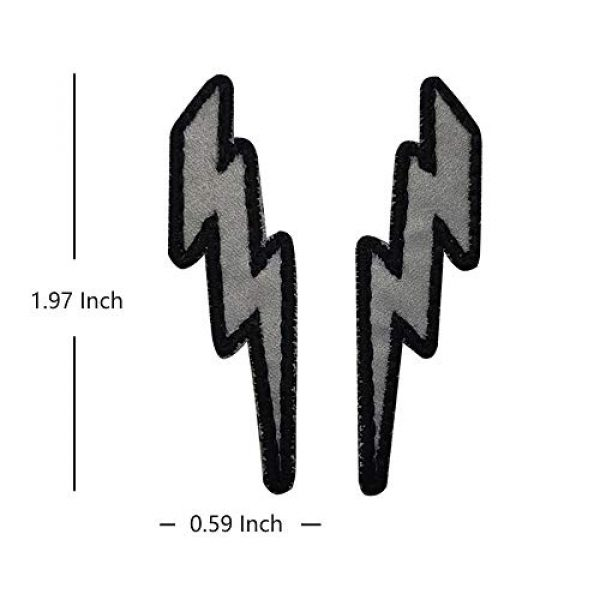 APBVIHL Airsoft Morale Patch 2 IR Infrared Reflective Lightning Bolt Patch Set, Military Tactical Morale Emblem Hook and Loop Fastener Backing Motorcycle MC Patches Armband Badges for Clothing Accessory Backpack