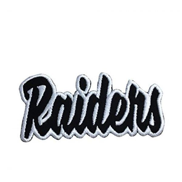 """Wholesale Applique Airsoft Morale Patch 1 (2"""" x 4"""") Raiders - Black/White - Team Mascot - Words/Names - Iron on Applique/Embroidered Patch"""