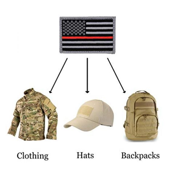 Great 1 Airsoft Morale Patch 3 American Flag Patch 4-Pack Set, 2x3 inch, Embroidered, Hook and Loop, Military and Tactical Accessory for Clothing-Jackets-Hats-Backpacks (Thin Red Line)