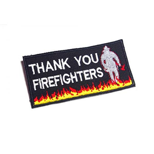 AstroG Airsoft Morale Patch 1 AstroG @ BP26 Thin Red line Firefighter Rescue Quotes Thank You Embroidered Morale Patch for Sew-on Only 4X2 inch (Thank You)