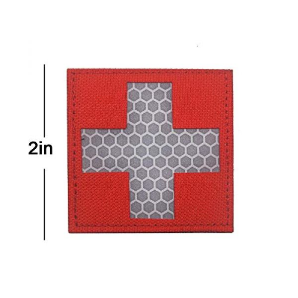 Zhikang68 Airsoft Morale Patch 2 Reflective Medic Patches,Infrared IR EMS EMT MED Tactical Medical Red Cross Morale Hook&Loop Badge First Aid Decorative Appliques (White Red)