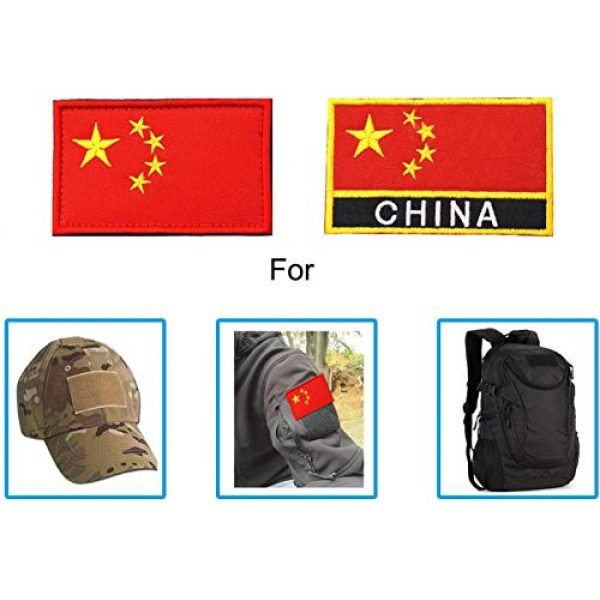 TopAAA Airsoft Morale Patch 4 TopAAA China CN Flag Military Embroidered Tactical Patch Morale Shoulder Applique 2packs