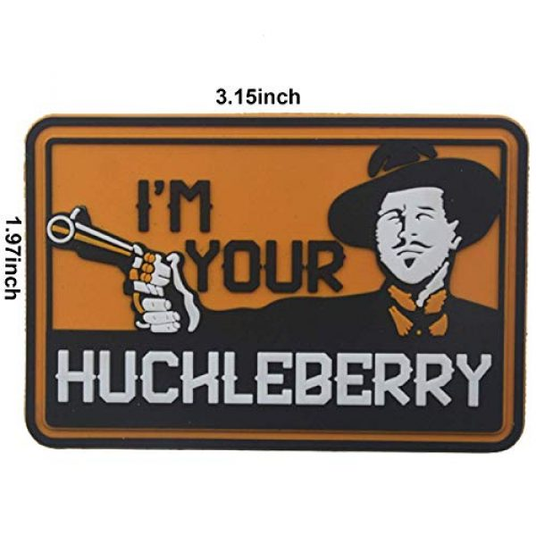 Zhikang68 Airsoft Morale Patch 2 I'm Your Huckleberry PVC Patch Funny Tactical Morale Hook & Loop Badg Armband Emblem for Clothes Caps Jackets with Hook Backing