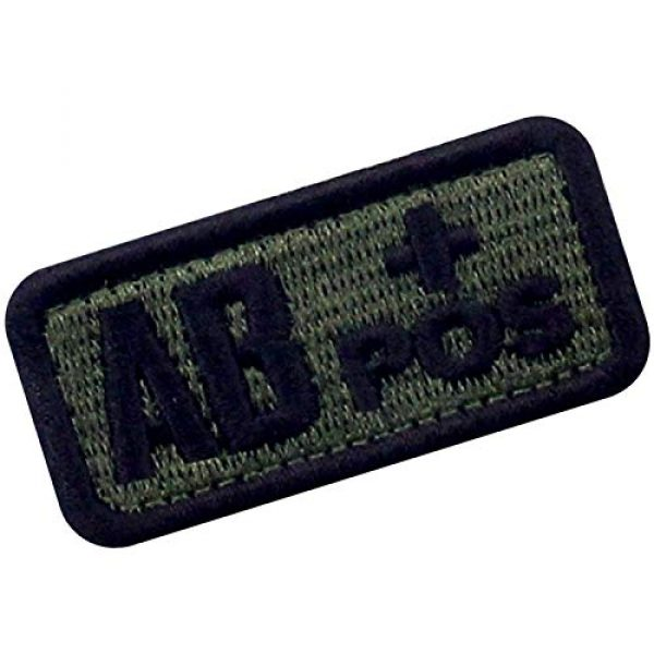 """EmbTao Airsoft Morale Patch 3 EmbTao Type AB Positive Tactical Blood Type Patch Embroidered Morale Applique Fastener Hook & Loop Emblem - Green & Black - 2""""x1"""""""