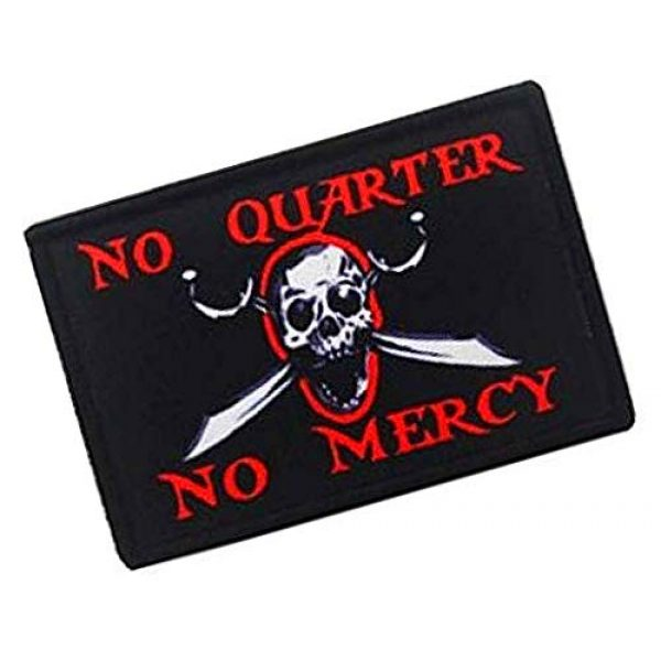 Fine Print Patch Airsoft Morale Patch 2 No Quarter No Mercy Pirate Skull Military Hook Loop Tactics Morale Printed Patch