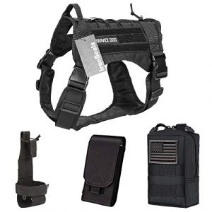 IronSeals Tactical Pouch 1 IronSeals AQ Bundle Tactical Service Dog Vest Molle Dog Harness with Handles & Multi-Purpose Pouch & Water Bottle Holder Belt for Outdoor Walking Running Hiking Cycling