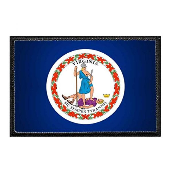 P PULLPATCH Airsoft Morale Patch 1 Virginia State Flag - Color   Hook and Loop Attach for Hats, Jeans, Vest, Coat   2x3 in   by Pull Patch