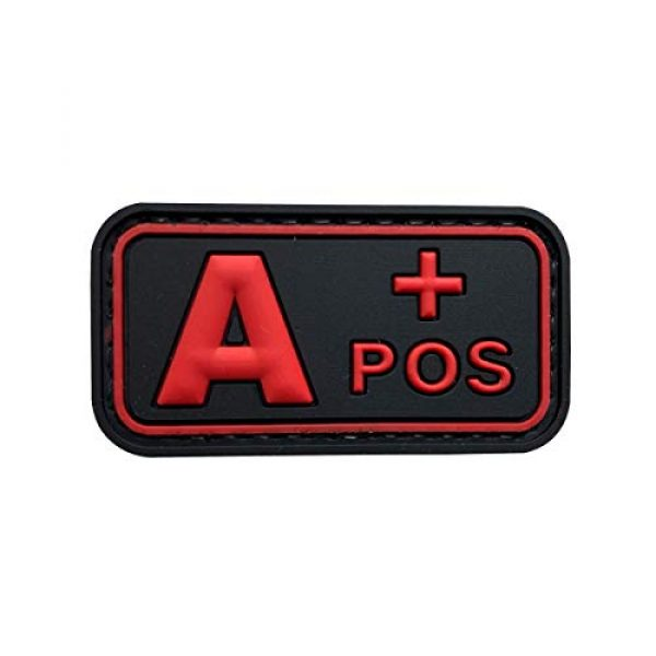 uuKen Airsoft Morale Patch 1 uuKen PVC Rubber Medic EMT EMS Rescue 5x2.6cm Red A+ A POS Positive Blood Type Group Identifier Tab 3D Tactical Patch with Hook Fastener Backing (Black and Red, 5x2.6cm)