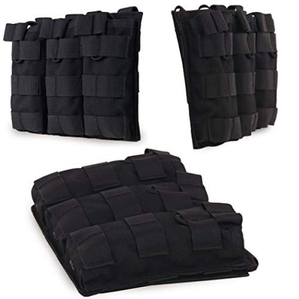 Aoutacc Tactical Pouch 3 Aoutacc Tactical Magazine Pouch Holder MOLLE Triple Open-Top Mag Pouch with D-Ring Grimlock Locking for M4 M16 AR-15 Magazines