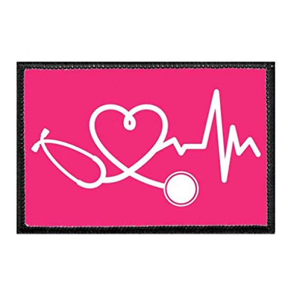 P PULLPATCH Airsoft Morale Patch 1 Healthcare Heartbeat - Hot Pink | Hook and Loop Attach for Hats, Jeans, Vest, Coat | 2x3 in | by Pull Patch