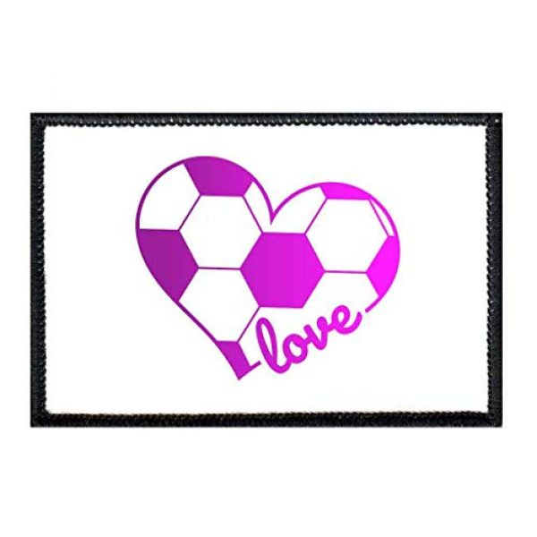 P PULLPATCH Airsoft Morale Patch 1 Soccer Heart Purple Hombre and White Morale Patch | Hook and Loop Attach for Hats, Jeans, Vest, Coat | 2x3 in | by Pull Patch