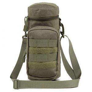 Azarxis Tactical Pouch 1 Azarxis Water Bottle Pouch Holder, Tactical MOLLE Hydration Carrier Bag Sling Case with Extra Accessory Pouch and Detachable Shoulder Strap for Backpack Camping Travel Outdoor Activities