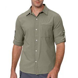 VEOBIKE Tactical Shirt 1 VEOBIKE Men's Fishing Shirts Lightweight Quick Dry Breathable Long Sleeve Cargo Outdoor Hiking Travel Shirts Pockets