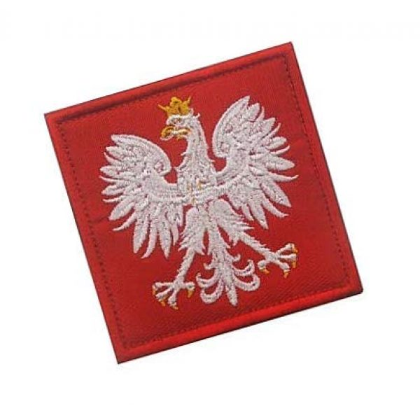 Embroidery Patch Airsoft Morale Patch 2 Poland Flag Polska Eagle Special Force GROM Military Hook Loop Tactics Morale Embroidered Patch (color1)