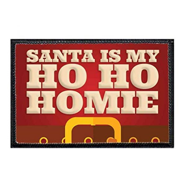 P PULLPATCH Airsoft Morale Patch 1 Santa is My Ho Ho Homie Morale Patch   Hook and Loop Attach for Hats, Jeans, Vest, Coat   2x3 in   by Pull Patch