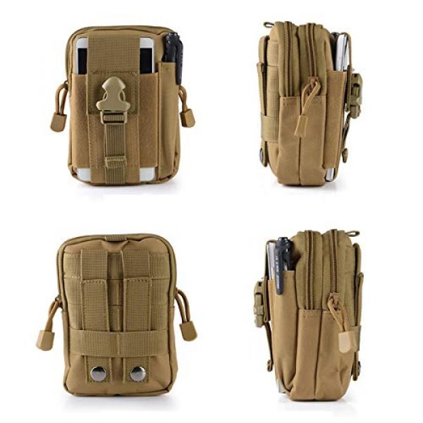 ASkinds Tactical Pouch 4 Tactical Pouch Multipurpose Waist Belt Bag Waterproof Nylon Cell Phone Holster Holder Phone Carrying Case Organizer Security Wallet Purse for Outdoor Men Camping Hiking(Khaki)