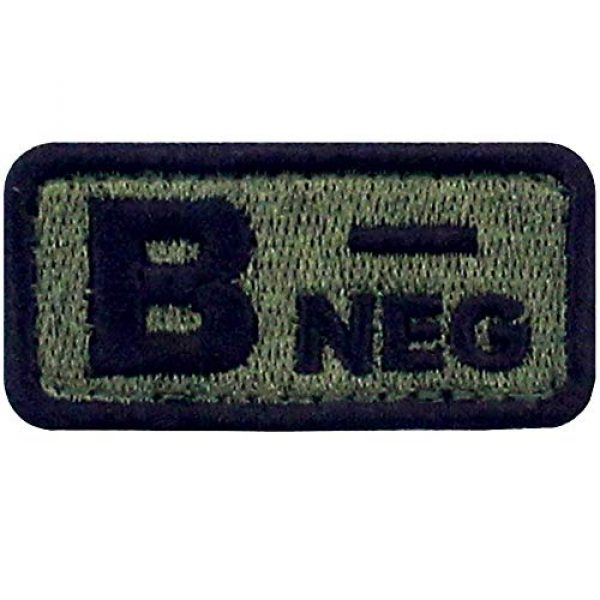 """EmbTao Airsoft Morale Patch 1 EmbTao Type B Negative Tactical Blood Type Patch Embroidered Morale Applique Fastener Hook & Loop Emblem - Green & Black -2""""x1"""""""
