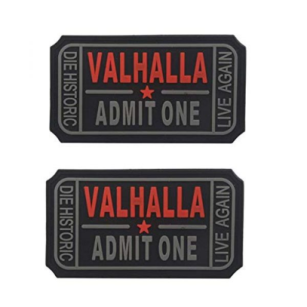Homiego Airsoft Morale Patch 1 Homiego Ticket to Valhalla Admit One Die Historic Live Again Tactical Morale Badge Rubber Hook Backing Patch (2Blacks)