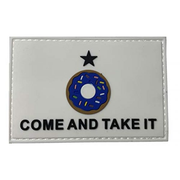 PakedDeals Airsoft Morale Patch 1 Come and Take It Donut Blue Patch Hook & Loop Gear Bag Vest Police Texas Funny Patch