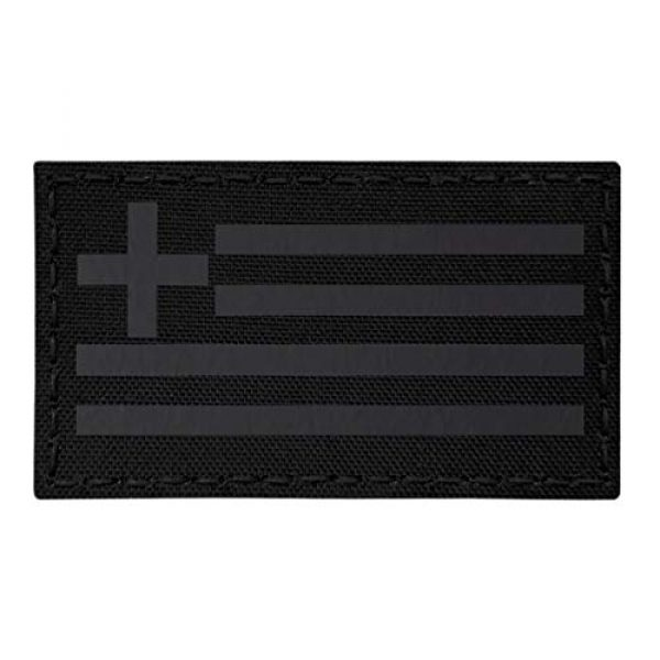 Tactical Freaky Airsoft Morale Patch 1 IR Blackout Greek Greece Flag Hellenic Hellas 3.5x2 Infrared IFF Tactical Morale Fastener Patch