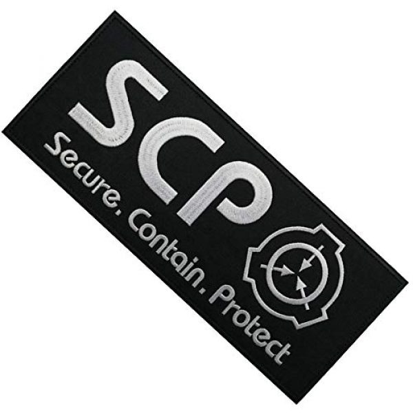 APBVIHL Airsoft Morale Patch 5 2 Pack Large Size SCP Foundation Secure Contain Protect Embroidered Patches, Tactical Military Morale Badges Decorative Appliques with Fastener Hook and Loop Backing