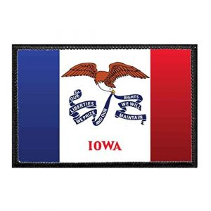 P PULLPATCH Airsoft Morale Patch 1 Iowa State Flag - Color Morale Patch | Hook and Loop Attach for Hats, Jeans, Vest, Coat | 2x3 in | by Pull Patch