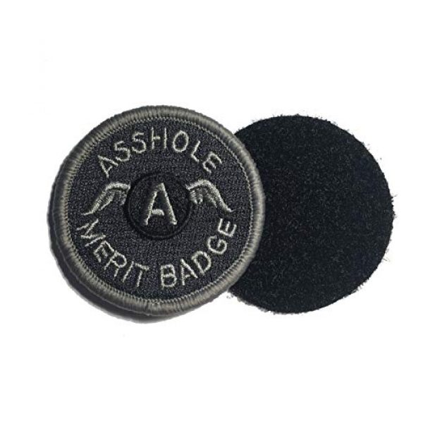 """Empire Tactical USA Airsoft Morale Patch 2 Black 2"""" Inch Asshole Merit Badge Tactical (Hook/Loop) Morale Military Patch"""