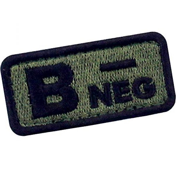 """EmbTao Airsoft Morale Patch 3 EmbTao Type B Negative Tactical Blood Type Patch Embroidered Morale Applique Fastener Hook & Loop Emblem - Green & Black -2""""x1"""""""