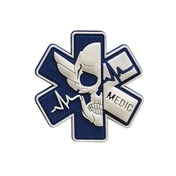 Zhikang68 Airsoft Morale Patch 1 Medic Patch 3D PVC Rubber Paramedic Medical EMS EMT MED First Aid Morale Tactical Morale Skull Military Hook Fasteners Badge (White Blue)