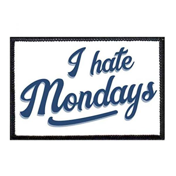 P PULLPATCH Airsoft Morale Patch 1 I Hate Mondays Morale Patch | Hook and Loop Attach for Hats, Jeans, Vest, Coat | 2x3 in | by Pull Patch
