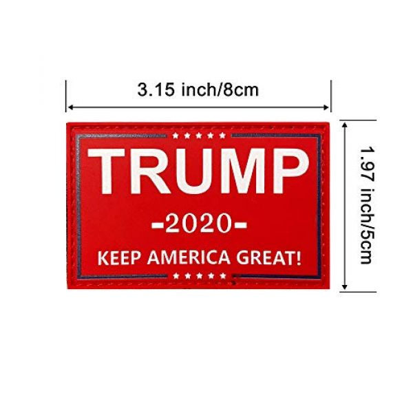 HSQ Airsoft Morale Patch 2 HSQCEZ US Donald Trump Flag Patch with Velcro,red President 2020 Keep America Great Flags Tactical PVC Hook Patch,Tactical Patch Pride Flag Velcro Patch for Clothes Hat Patch Team Military Patch