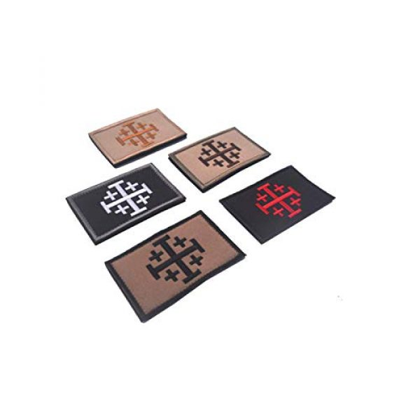 DPAINTouscap Airsoft Morale Patch 3 Jerusalem Cross Crusader Tactical Patches Embroidered Military Patch Morale Patches