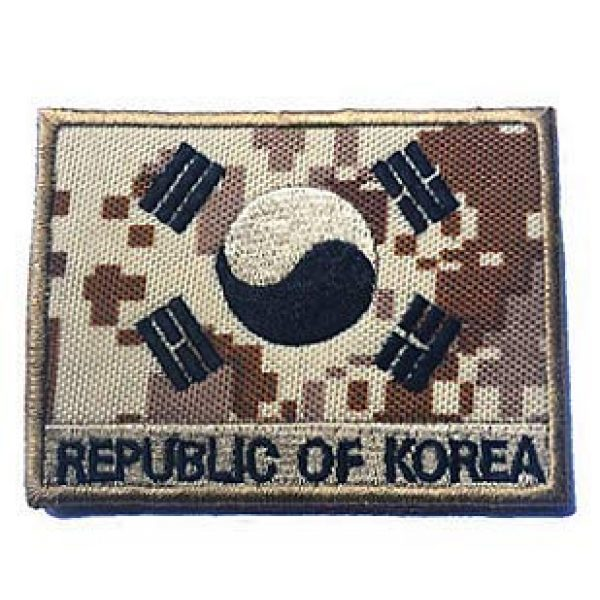 Embroidery Patch Airsoft Morale Patch 1 South Korean Flag Military Hook Loop Tactics Morale Embroidered Patch (color4)