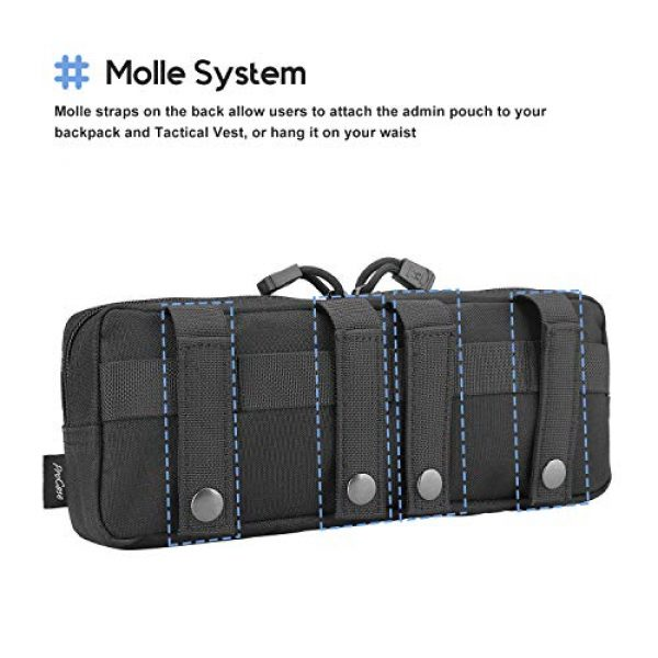 ProCase Tactical Pouch 3 ProCase Tactical Admin Pouch, Versatile Molle Admin Pouch EDC Carry Bag Multi-Purpose Tool Holder for Magazine, Map and Other Small Tools -Black