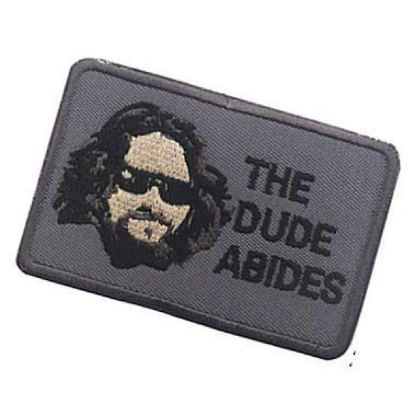 Embroidery Patch Airsoft Morale Patch 3 The Dude Abides,The Big Lebowski Patch Hook Loop Tactics Morale Embroidered Patch