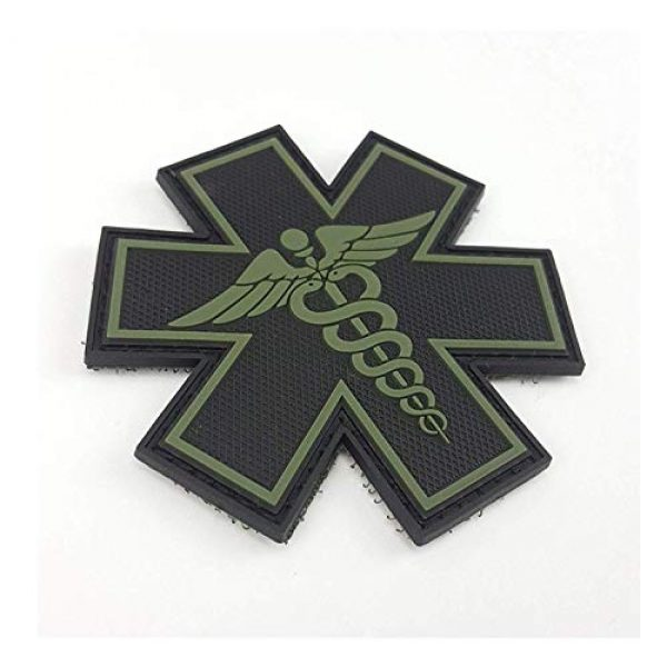 """Tactical Innovations Canada Airsoft Morale Patch 2 PVC Morale Patch - EMS - Medical Responder 3"""" Star of Life - Blk & ODG - Dual Snake"""
