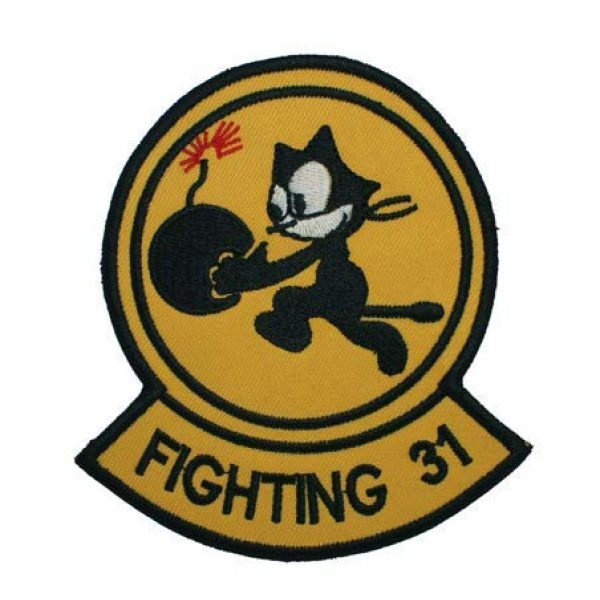 Tactical Embroidery Patch Airsoft Morale Patch 1 Fighting 31 Squadron Felix The Cat Bomb Embroidery Patch Military Tactical Morale Patch Badges Emblem Applique Hook Patches for Clothes Backpack Accessories