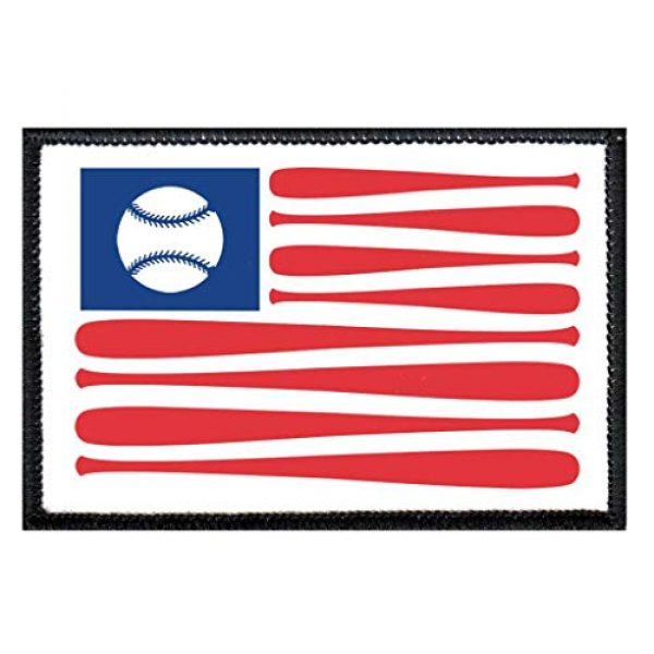 P PULLPATCH Airsoft Morale Patch 1 American Flag Baseball Morale Patch | Hook and Loop Attach for Hats, Jeans, Vest, Coat | 2x3 in | by Pull Patch