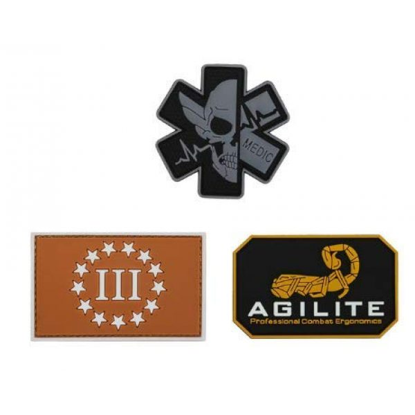 Tactical PVC Patch Airsoft Morale Patch 1 3pcs Medic Skull Scorpion Team PVC Military Tactical Morale Patch Badges Emblem Applique Hook Patches for Clothes Backpack Accessories