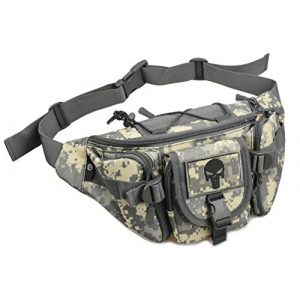 JFFCE Tactical Pouch 1 JFFCE Compact Tactical Waist Pack Bag Military Waist Pack Portable Fanny Packs Large Army Waist Bag for Daily Life Cycling Camping Hiking Hunting Fishing Shopping(Contains Patch)