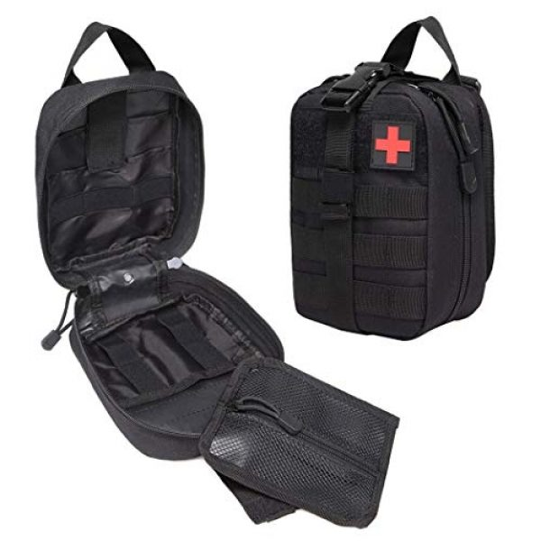 Aoutacc Tactical Pouch 2 Tactical MOLLE Rip Away EMT Medical Pouch, Empty IFAK Medical First Aid Kit Bag EDC Military First Aid Utility Pouch (Bag Only)