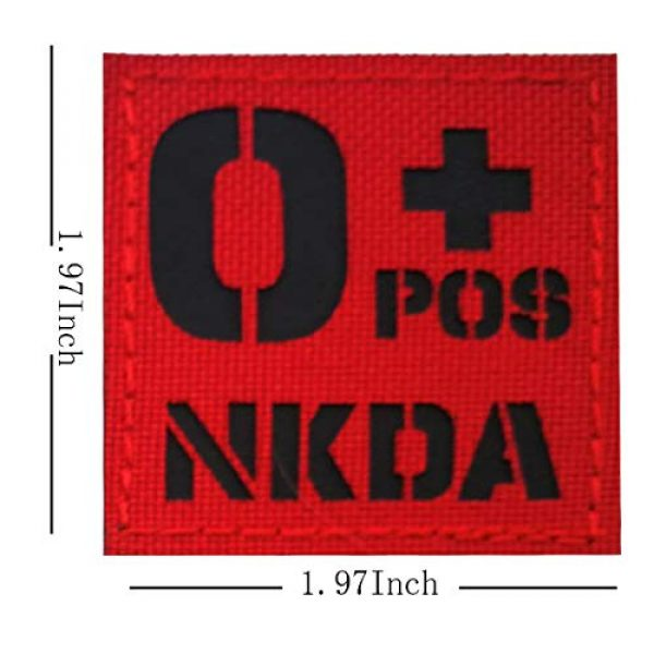 APBVIHL Airsoft Morale Patch 3 Infrared IR Reflective O POS O+ NKD O Positive Blood Type Patch, Tactical Morale Medical Patches with Hook and Loop Fastener Backing 1.97 x 1.97 Inch - 2 Pieces - No Known Drug Allergies