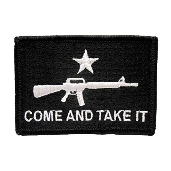 BASTION Airsoft Morale Patch 1 BASTION Morale Patches (Come and Take It, Black) | 3D Embroidered Patches with Hook & Loop Fastener Backing | Well-Made Clean Stitching, Military Patches for Tactical Bag, Hats & Vest