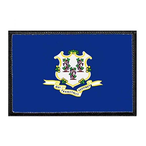 P PULLPATCH Airsoft Morale Patch 1 Connecticut State Flag - Color Morale Patch   Hook and Loop Attach for Hats, Jeans, Vest, Coat   2x3 in   by Pull Patch