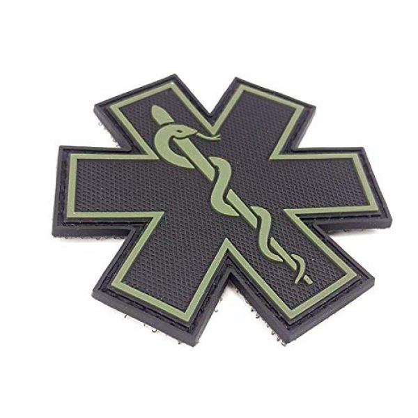 """Tactical Innovations Canada Airsoft Morale Patch 2 PVC Morale Patch - EMS - Medical Responder 3"""" Star of Life - Blk & ODG - Single Snake"""